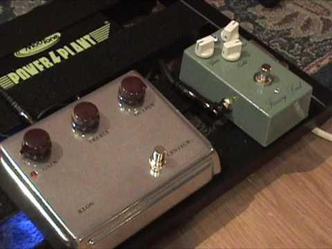 KLON Centaur overdrive guitar effects pedal shootout against a KLONE