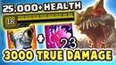 OVER 25,000 HEALTH | 3000 TRUE DAMAGE FEAST | MAXIMUM HP CHO'GATH JUNGLE IS SO BROKEN - Nightblue3