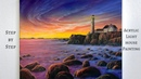 Sunset Lighthouse STEP by STEP Acrylic Painting (ColorByFeliks)