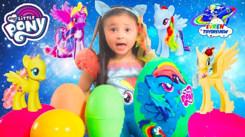 Giant Play Doh Surprise Eggs MY LITTLE PONY MLP Rainbow Dash Hasbro Kid Toys Review video