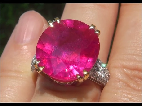 Certified 17.63 ct Natural Red Ruby Diamond 14k White Gold Cocktail Estate Ring - C162