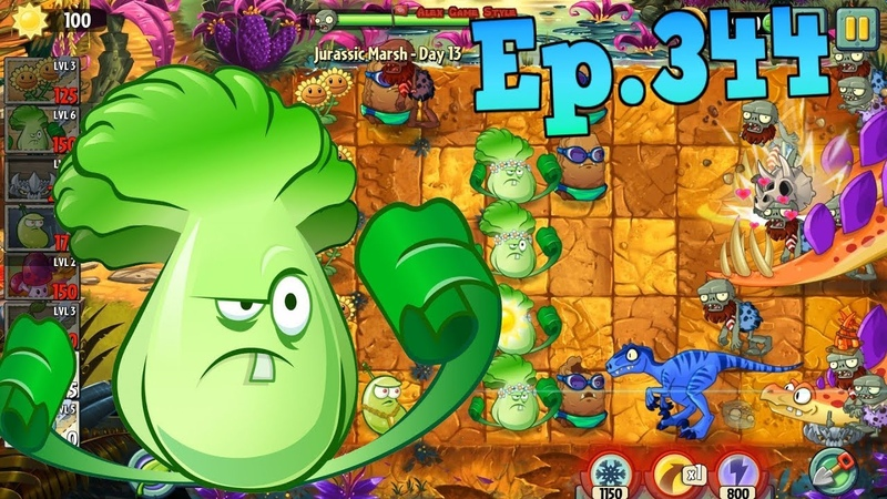 Plants vs. Zombies 2 || Primal Wall-nut, Bonk Choy - Jurassic Marsh Day 13 (Ep.344)