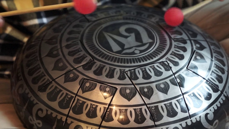 Aeolian Handmade steel tongue drum with Tibetan Aum mandala