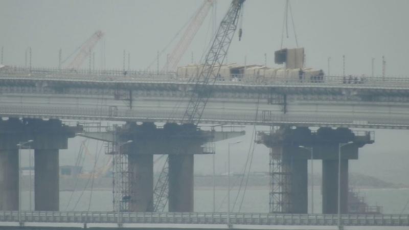 Керченский мост.Работы на ж-д мосте возле арок.. Кибитки сносят !Керчь