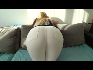 Girl with big ass gets fucked through jeans and thongs