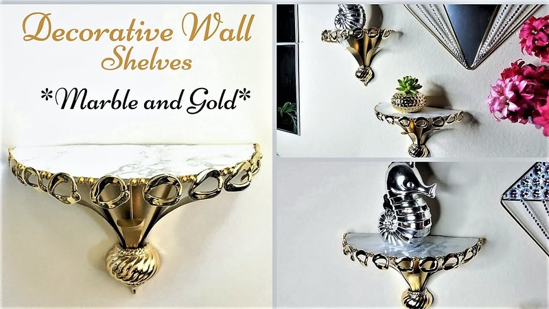 Diy Marble and Gold Wall Shelves 5 minutes Decor Hack Simple and Inexpensive