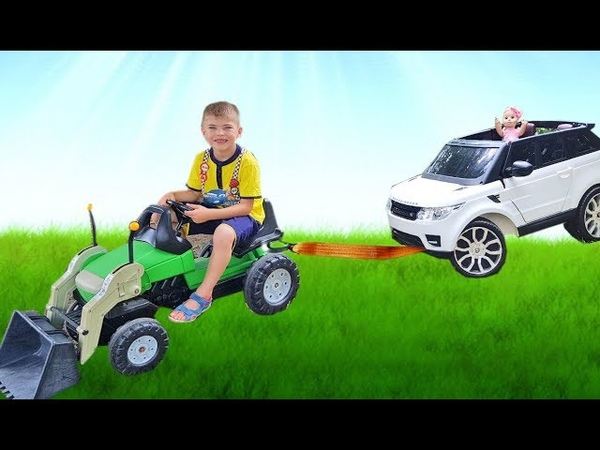 The Tractor Helps Funny Baby on Car which Stuck Ride on POWER WHEEL Drive Car