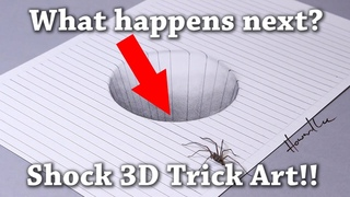 Drawing a Round Hole 3D Trick Art with Awesome Spider Illusion! Pencil tutorial for kids and adults
