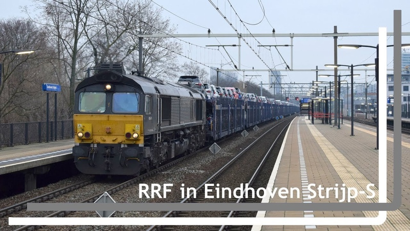 RRF 653-01 komt met volle Gefco autotrein door Eindhoven Strijp-S
