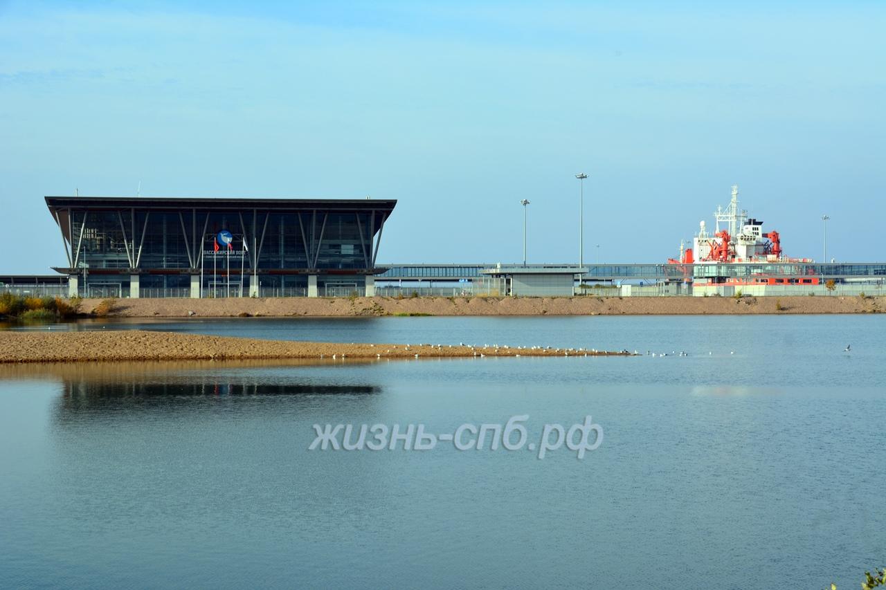 Пассажирский порт Санкт-Петербурга на Васильевском острове Морской фасад и странный корабль