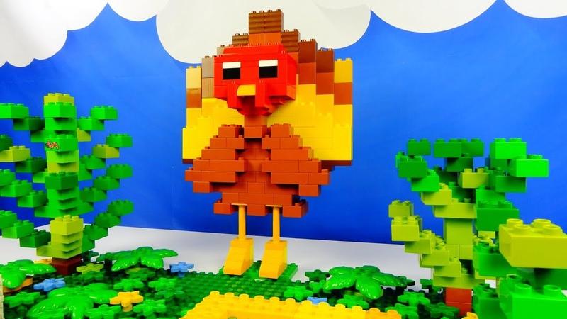 Строим из Lego Duplo, Lego Duplo the figure of a turkey bird - Лего Дупло индюк, Лего птица