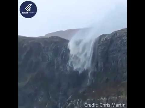 Wind too powerful for waterfall