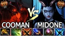 Midone Queen of Pain VS Cooman Shadow Fiend Crazy Solo Mid Battle 7.20 Dota 2