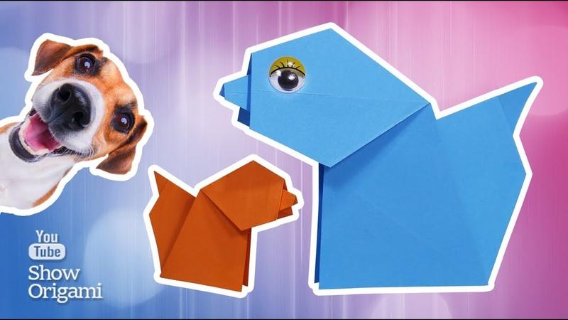 ЛАЮЩАЯ ОРИГАМИ СОБАКА 🐶 Как сделать собаку из бумаги которая лает Игрушка собака из бумаги