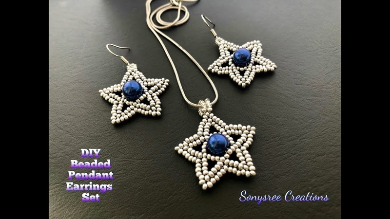 Silver Stars Set. Beaded Pendant Earrings Set.How to make beaded earrings pendant