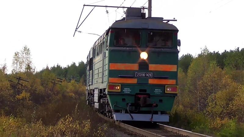 2ТЭ116 1429 несется с грузовым поездом и приветливой бригадой