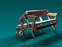 Стол скамейка складной раскладной трансформер для дачи и сада