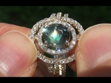 UNHEATED VVS1 Green Sapphire Diamond 14k Yellow Gold Cocktail Engagement Ring - A141710
