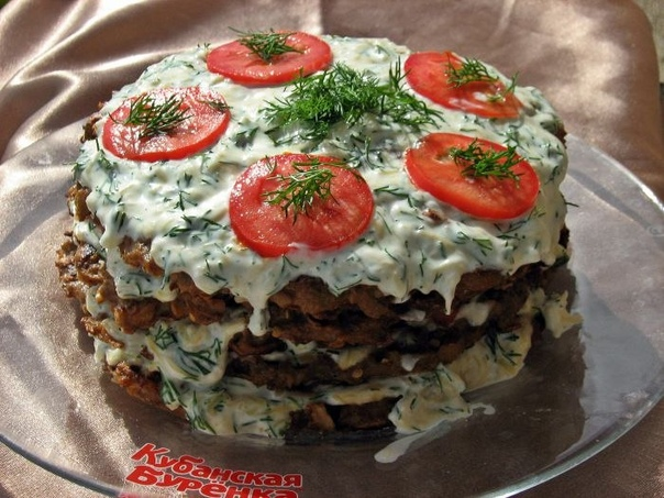 Овощной торт из баклажанов