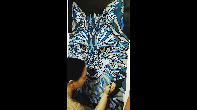 Speed painting - acrylic painting Wolf Marina Khilch [speed drawing]