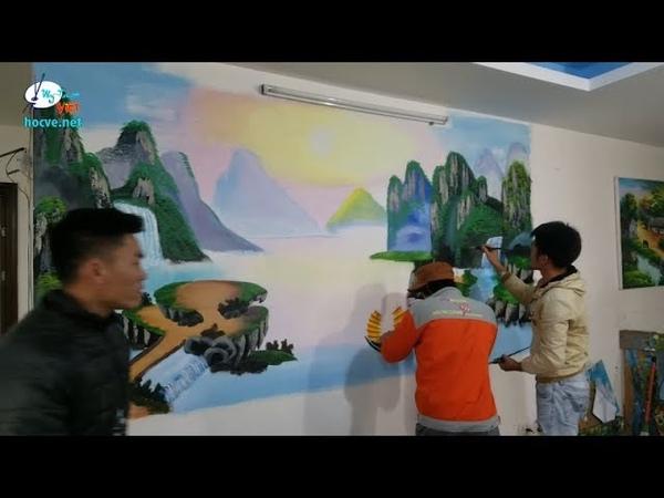 Khóa K14 thực tập trần mây và tranh sơn thủy tại xưởng Mỹ Thuật Việt