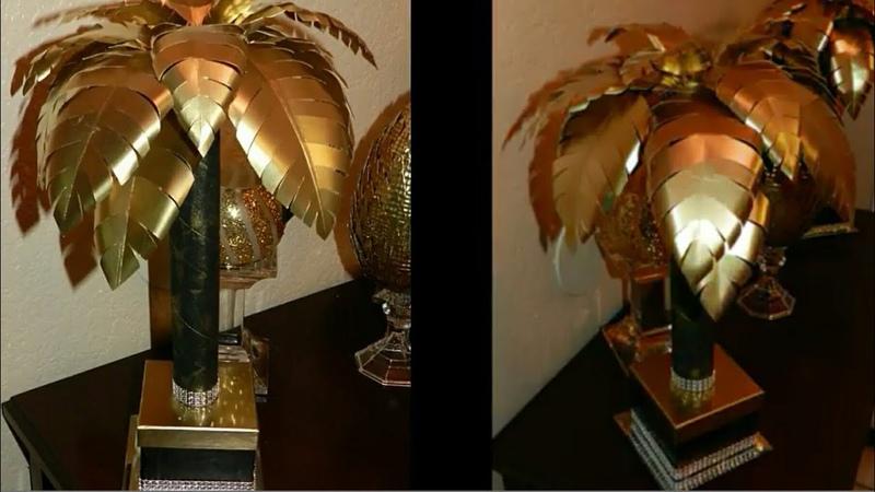DIY Elegant Tropical Table Lamp| DIY Dollar Tree Desk Lamp| Black Gold Home Decor