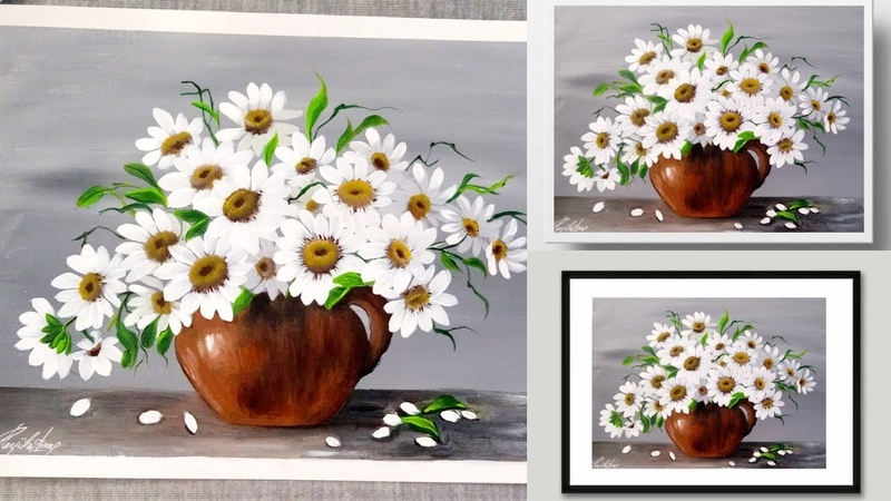 SIMPLE Acrylic Painting Demonstration - Daisies - WHITE Flower Painting - Easy Painting