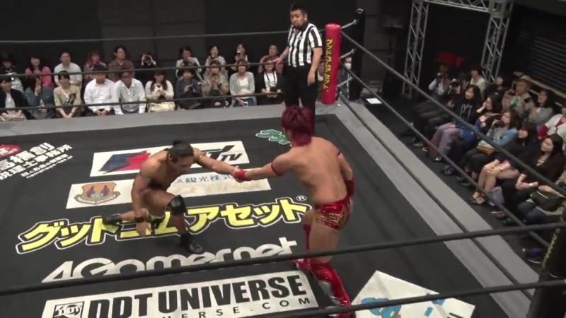 Konosuke Takeshita, Akito, Nobuhiro Shimatani vs. HARASHIMA, Soma Takao, Yasu Urano (DDT - Dramatic Fan Club Vol. 2)