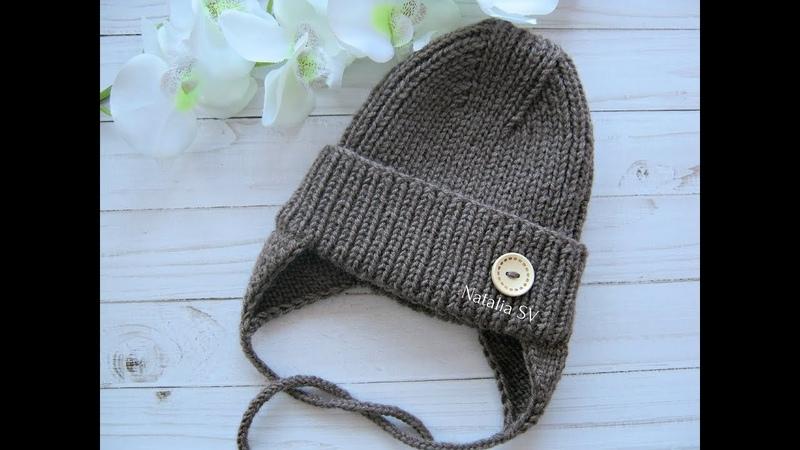 Детская шапочка спицами с модной макушкой Осенне весенняя шапочка с ушками МК