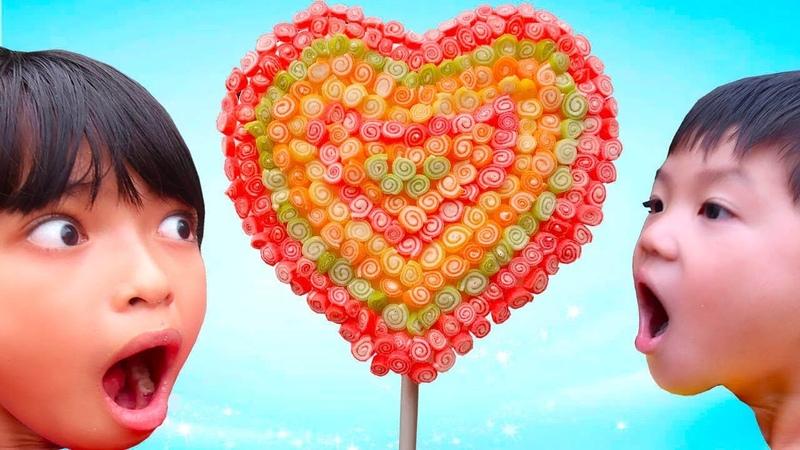 Trò chơi làm hình trái tim khổng lồ bằng kẹo dẻo Jelly Sweet Rainbow ❤ ABC ❤