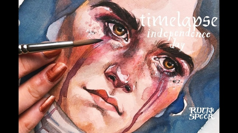 WATERCOLOR TIMELAPSE ♥ Independence Day ♥ Ruth Speer