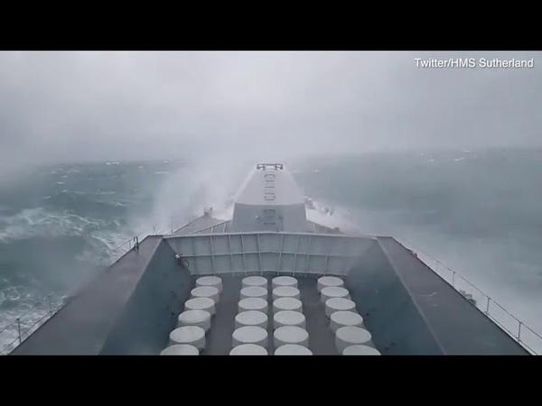 HMS Sutherland frigate crashes into waves during Storm Gareth