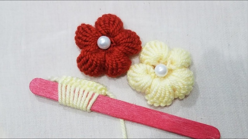 Hand Embroidery:Making Unique Puff Flower With Ice cream Stick /Amazing New TrickSewing Hack Part12