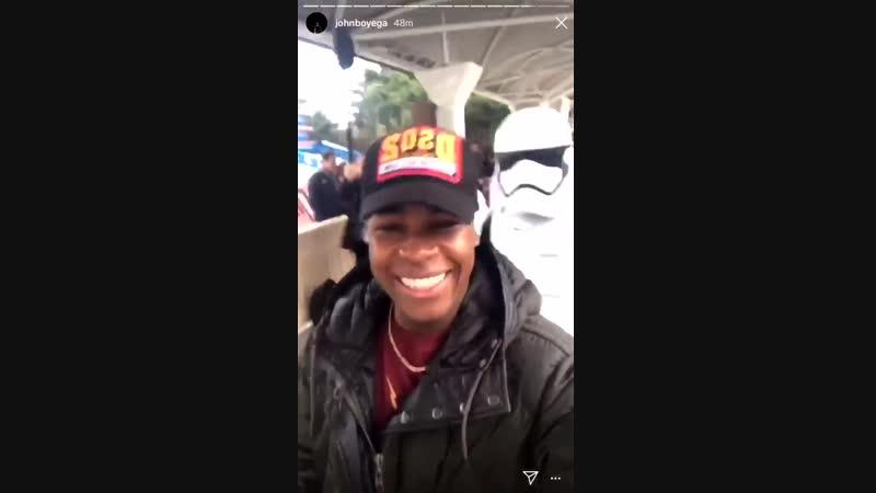Traitor John Boyega was captured by stormtroopers at Disneyland