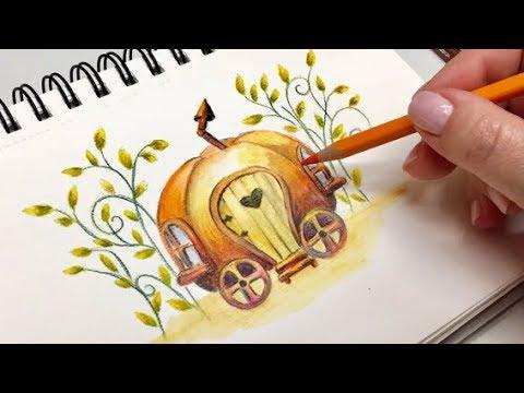 Pumpkin Caravan- Arteza Watercolor pencils and paper- Speed drawingpainting
