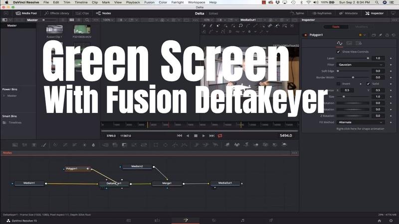 Davinci Resolve 15 - Green Screen with Fusion DeltaKey