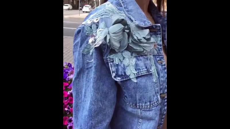Новые «джинсовки» с аппликацией. Укорочённые. Размеры от 40 до 48. Хлопок.