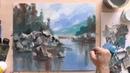 Как работать мастихином и акрилом рисуя пейзаж