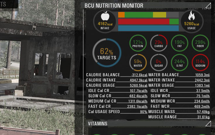 калории в SCUM