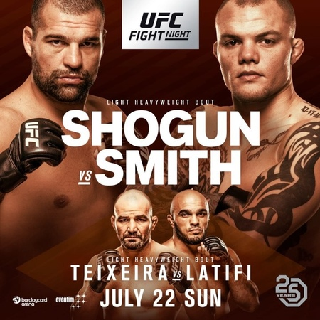 """UFC on Instagram: """"🚨MUDANÇA ANUNCIADA🚨 @shogunoficial encara @anthonysmithufc na luta principal do UFCHamburgo, em 22 de julho. UFC UFCBrasil ..."""