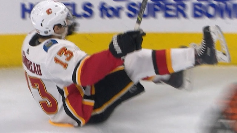 Johnny Gaudreau takes a tumble after scoring a goal