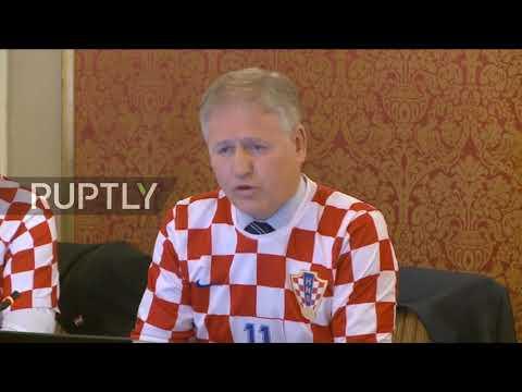 Croatia Gov. meets wearing football jerseys after semi-final win over England