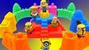 ЗАМОК из кинетического песка МИНЬОНЫ и Машинки игрушки Учим ЦВЕТА Песня про алфавит на английском