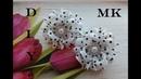 Красивые бантики в горох из репса МК Канзаши Beautiful hair clips from reps Fitas para o cabelo