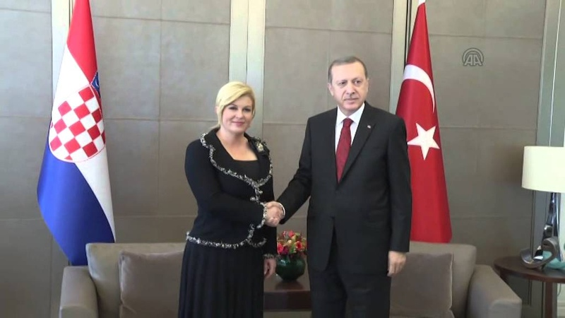 Turkish President Erdogan Croatian President Kitarovic