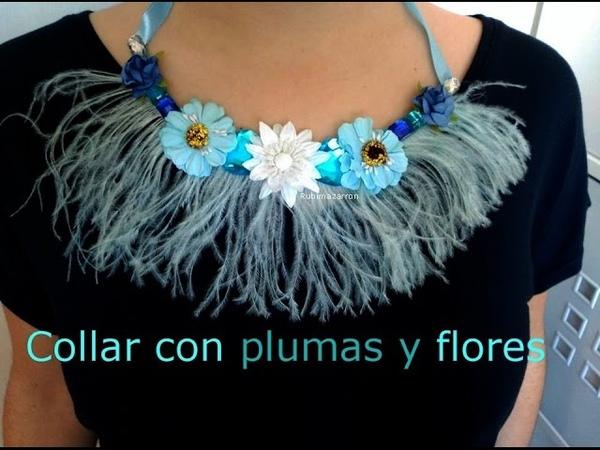 Diy. Collar facil con plumas y flores