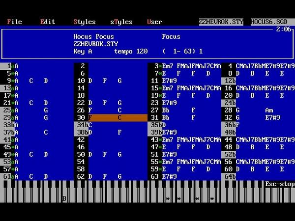 Focus Hocus Pocus Band in a Box v4 03 in DOSBox 0 74