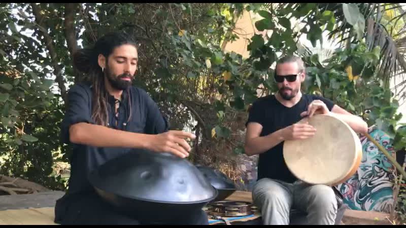 Artur Ahmedeev and Andrey Tanzu. Duo hang drum and frame drum. India, Goa, Arambol.