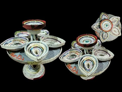 How To Make A Candle Stand/Diya Hoder/ Diya Stand with newspaper, Diwali Special (Newspaper Crafts)