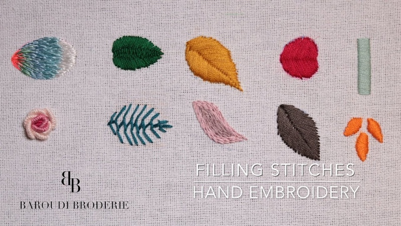 Hand Embroidery for Beginners - 10 Basic filling stitches- Leaves -With drawing explanations